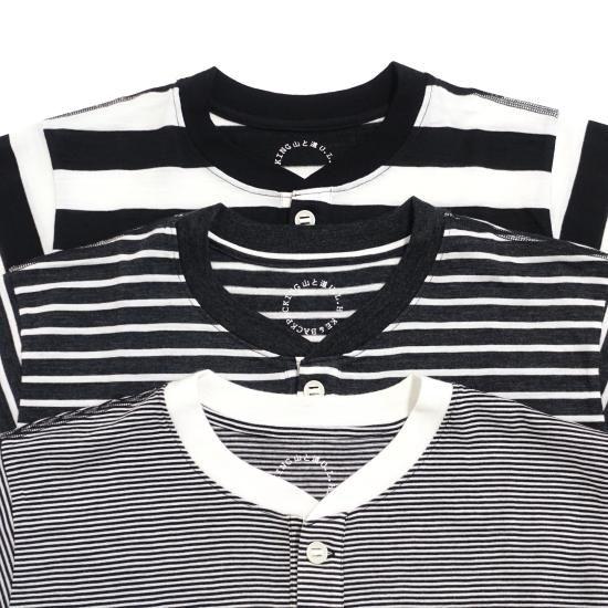 山と道 Merino Henry T-shirt stripe
